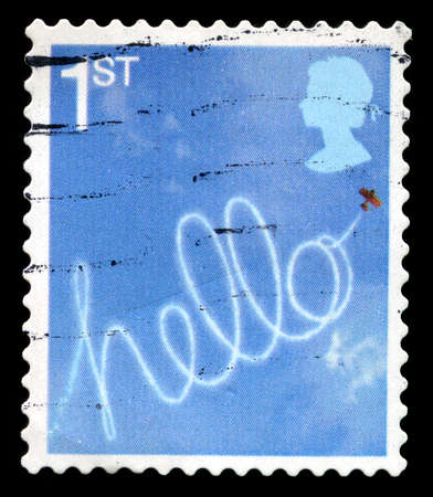 shalom: UNITED KINGDOM - CIRCA 2006: A used British Postage Stamp depicting a HELLO message, circa 2006. Editorial