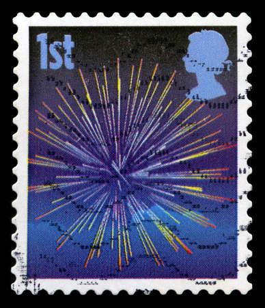 guy fawkes night: REGNO UNITO - CIRCA 2006: Un francobollo britannico timbro utilizzato raffigurante un'immagine celebrativa dei fuochi d'artificio, circa 2006. Editoriali
