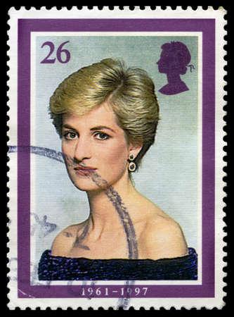 postmarked: UNITED KINGDOM - CIRCA 2008: A used British Postage Stamp depicting an image of Princesss Diana, circa 2008.
