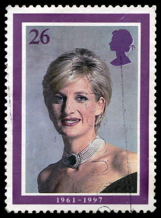 postmarked: UNITED KINGDOM - CIRCA 2008: A used British postage stamp depicting a portrait of Princess Diana, circa 2008. Editorial