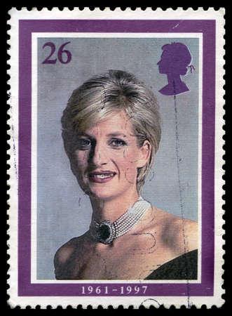 diana: UNITED KINGDOM - CIRCA 2008: A used British postage stamp depicting a portrait of Princess Diana, circa 2008. Editorial