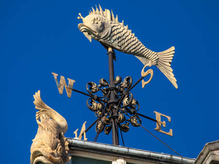 city fish market: The beautiful architectural detail of a Weather Vane at the Old Billingsgate Fish Market building in London.