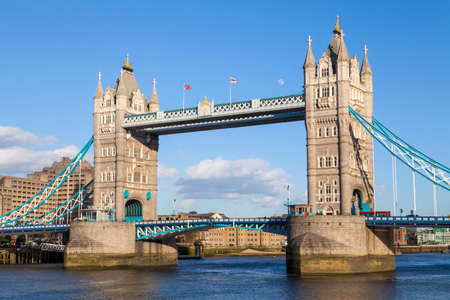 A beautiful view of Tower Bridge under a clear blue sky in London. photo