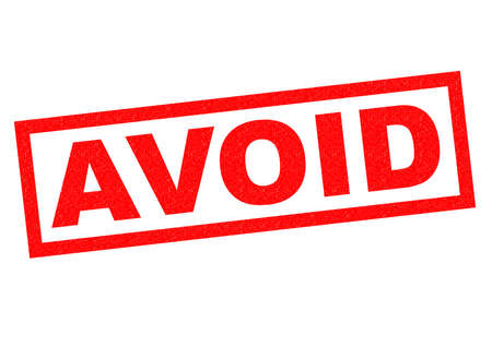evade: AVOID red Rubber Stamp over a white background.
