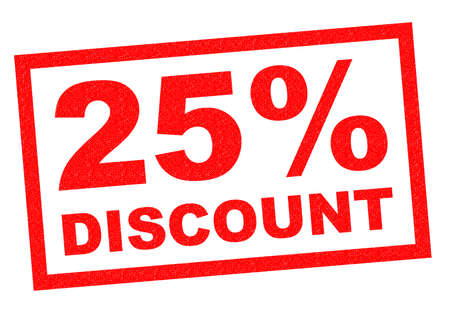 25% DISCOUNT red Rubber Stamp over a white background.