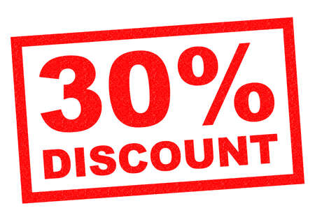 30: 30% DISCOUNT red Rubber Stamp over a white background.