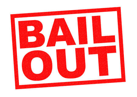 bail: BAIL OUT red Rubber Stamp over a white background. Stock Photo