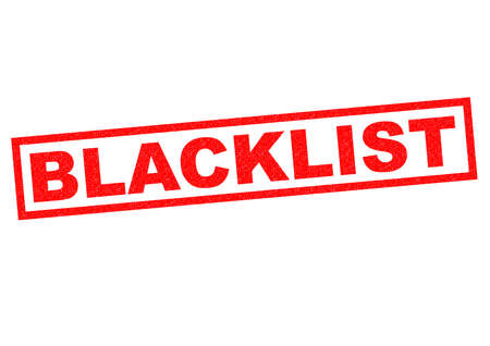 banish: BLACKLIST red Rubber Stamp over a white background. Stock Photo