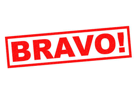 encore: BRAVO! red Rubber Stamp over a white background.