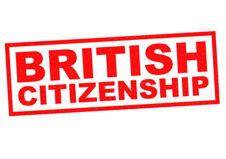 citizenship: BRITISH CITIZENSHIP red Rubber Stamp over a white background. Stock Photo