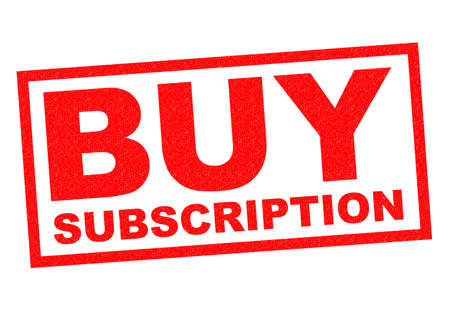 subscription: BUY SUBSCRIPTION red Rubber Stamp over a white background.