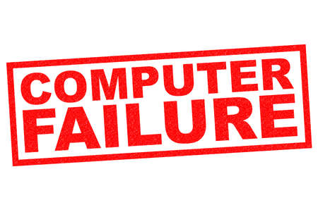repaired: COMPUTER FAILURE red Rubber Stamp over a white background.