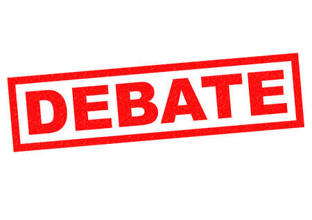 deliberation: DEBATE red Rubber Stamp over a white background. Stock Photo