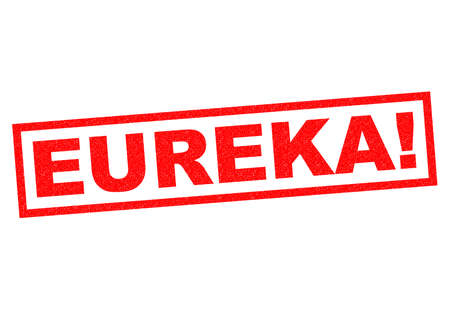 found it: EUREKA! red Rubber Stamp over a white background.