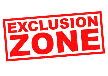 EXCLUSION ZONE red Rubber Stamp over a white background. photo
