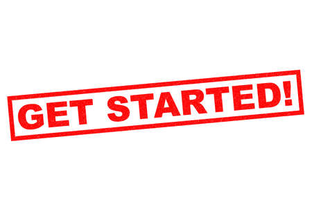 GET STARTED! red Rubber Stamp over a white background. photo
