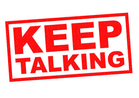 distract: KEEP TALKING red Rubber Stamp over a white background.