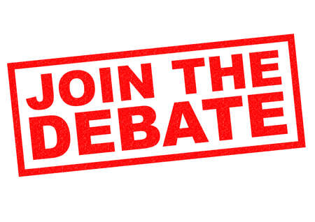 opinionated: JOIN THE DEBATE red Rubber Stamp over a white background.