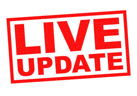 newsroom: LIVE UPDATE red Rubber Stamp over a white background. Stock Photo
