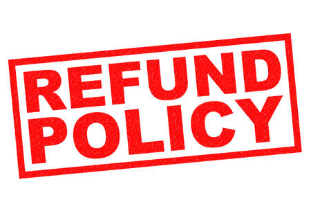 refunds: REFUND POLICY red Rubber Stamp over a white background. Stock Photo