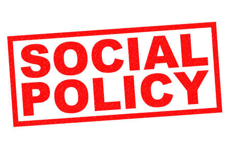 nhs: SOCIAL POLICY red Rubber Stamp over a white background. Stock Photo