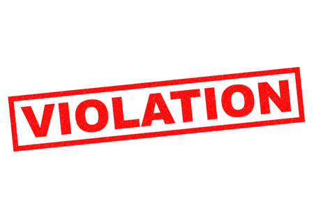 illegal act: VIOLATION red Rubber Stamp over a white background. Stock Photo