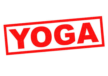 jainism: YOGA red Rubber Stamp over a white background.