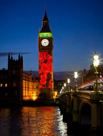 armistice: Cascading Poppies are projected onto the Elizabeth Tower of the Houses Parliament in Westminster to commemorate Remembrance Sunday in London.