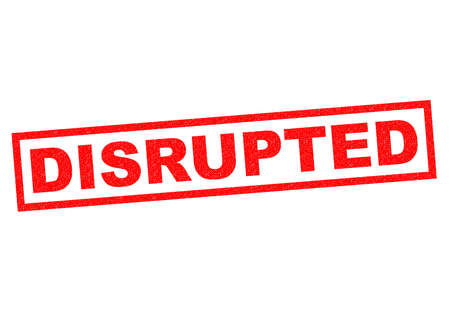 disrupt: DISRUPTED red Rubber Stamp over a white background.