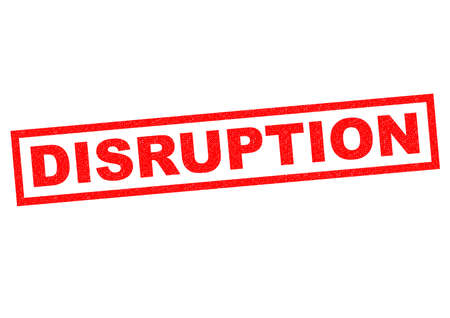 interruption: DISRUPTION red Rubber Stamp over a white background. Stock Photo