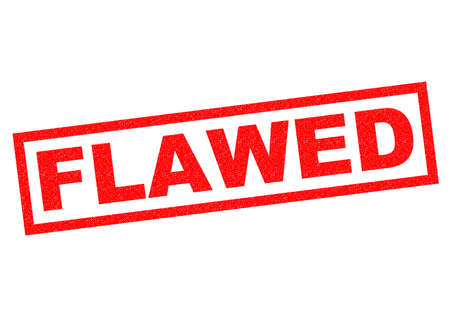 flawed: FLAWED red Rubber Stamp over a white background.
