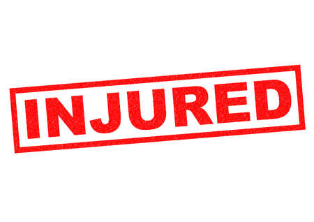 setback: INJURED red Rubber Stamp over a white background.