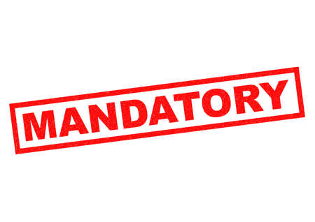 MANDATORY red Rubber Stamp over a white background. Stock Photo