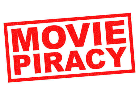 piracy: MOVIE PIRACY red Rubber Stamp over a white background.