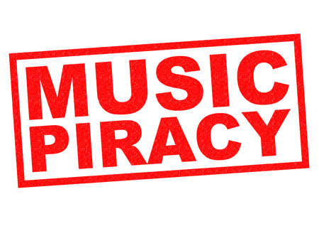 piracy: MUSIC PIRACY red Rubber Stamp over a white background.