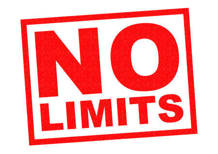 unrestricted: NO LIMITS red Rubber Stamp over a white background. Stock Photo