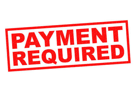 PAYMENT REQUIRED red Rubber Stamp over a white background.
