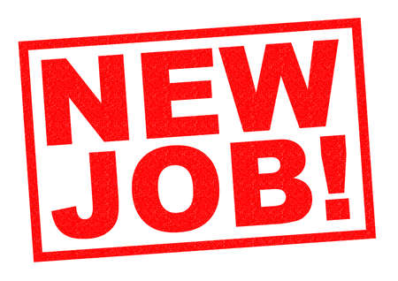 job hunting: NEW JOB! red Rubber Stamp over a white background. Stock Photo