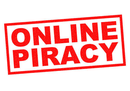piracy: ONLINE PIRACY red Rubber Stamp over a white background. Stock Photo
