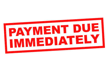 PAYMENT DUE IMMEDIATELY red Rubber Stamp over a white background. Standard-Bild