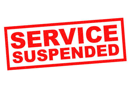 suspended: SERVICE SUSPENDED red Rubber Stamp over a white background.