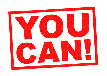YOU CAN! red Rubber Stamp over a white background.