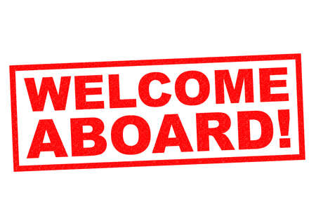 aboard: WELCOME ABOARD red Rubber Stamp over a white background. Stock Photo