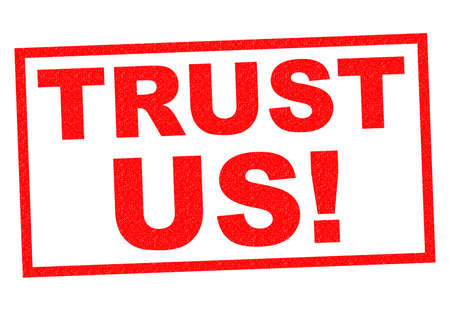 reliance: TRUST US! red Rubber Stamp over a white background. Stock Photo