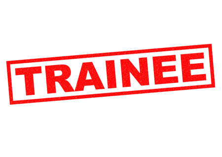 rookie: TRAINEE red Rubber Stamp over a white background. Stock Photo