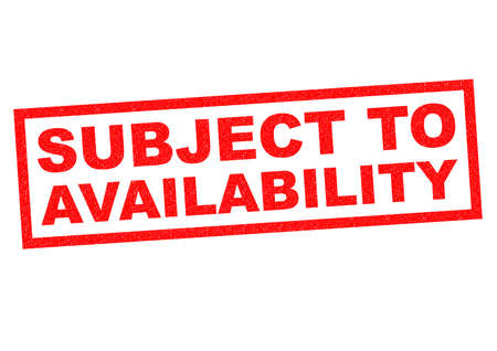 subject: SUBJECT TO AVAILABILITY red Rubber stamp over a white background. Stock Photo