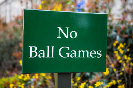 barring: A No Ball Games sign in a park in England.