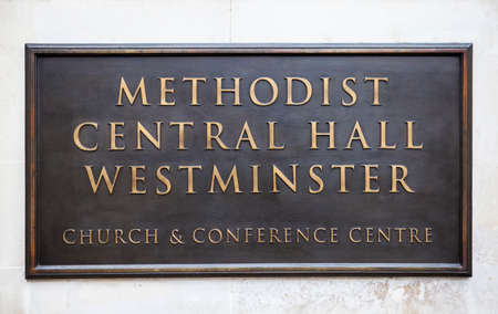 methodist: A plaque on the Methodist Central Hall in Westminster, London.