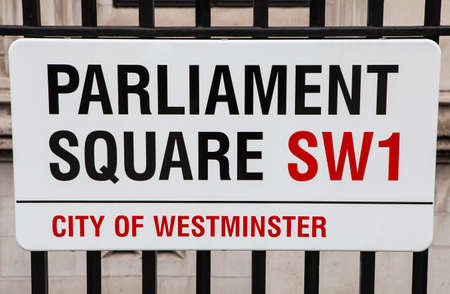 parliament square: LONDON, UK - APRIL 1ST 2015: A street sign for the historic Parliament Square in London on 1st April 2015. Editorial