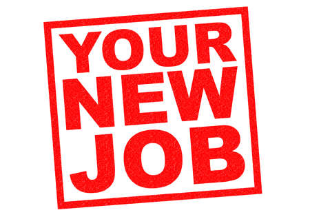 new job: YOUR NEW JOB red Rubber Stamp over a white background. Stock Photo